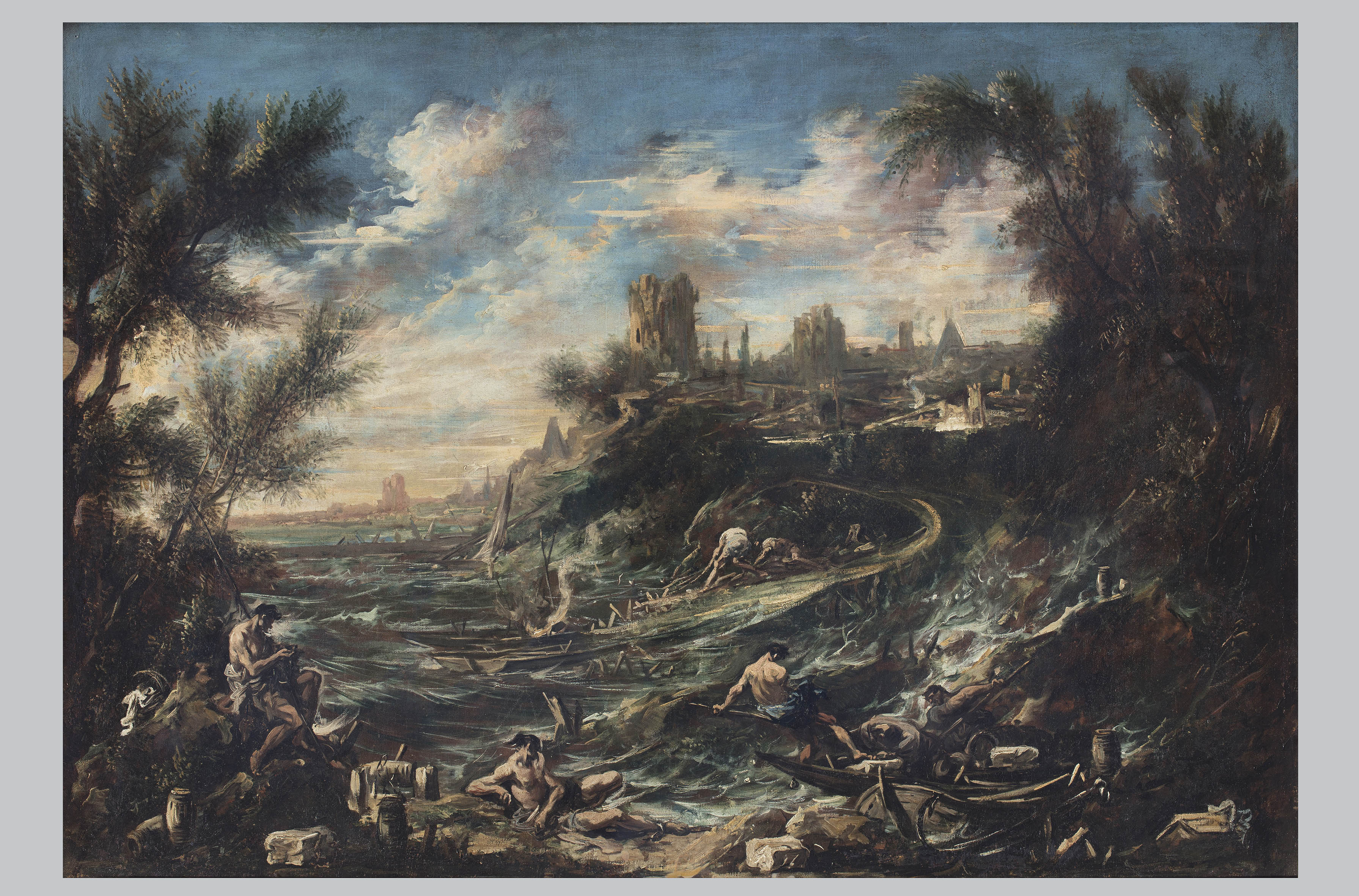 Alessandro Magnasco, Baia marina con pescatori, olio su tela, cm 91x130