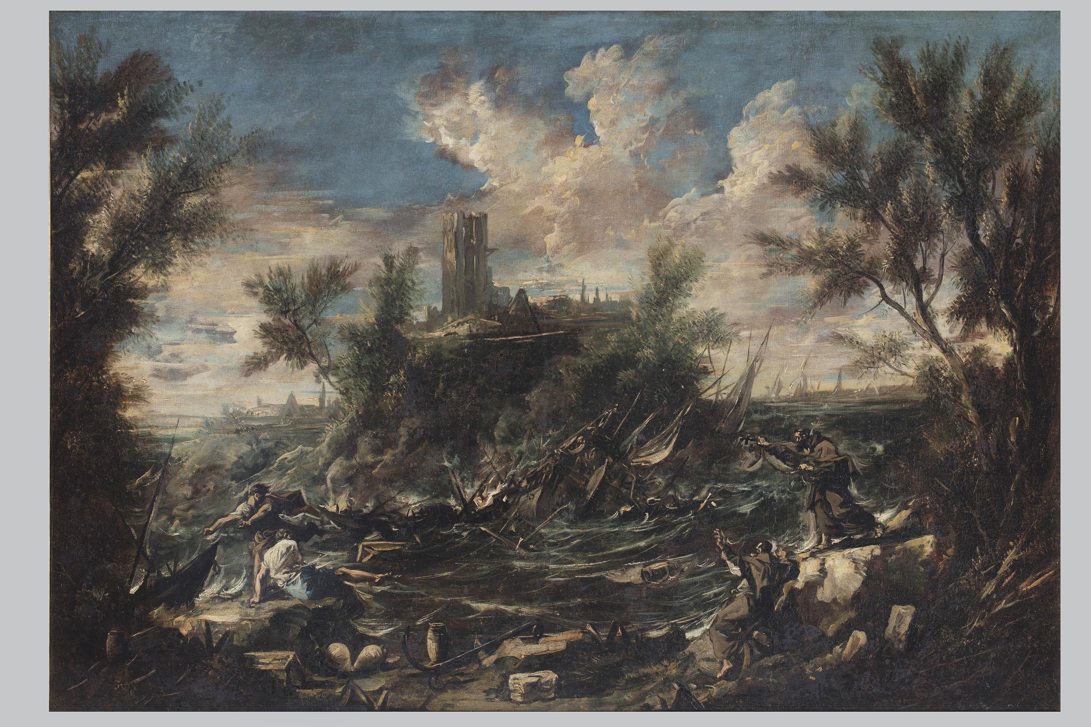 Alessandro Magnasco, Baia marina con frati e vascello naufragato, olio su tela, cm 91x130