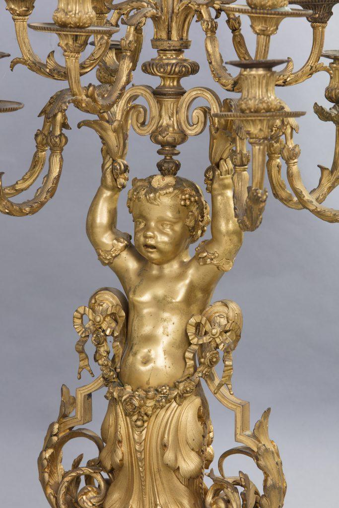 Dettaglio di Trittico da camino in bronzo dorato, Francia, XIX secolo - Antichità Giglio